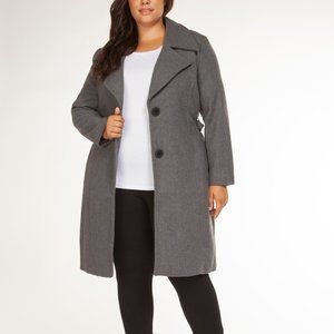 Long Belted Winter Coat in Grey